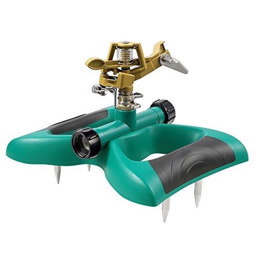 PABREY Lawn Sprinkler, Automatic 360 Adjustable Rotating Sprinkler for Garden, Impact Sprinkler with Fixed Pins, Metal Sprinkler Head