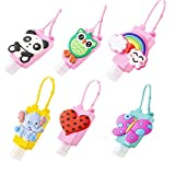 Kids Hand Sanitizer Holder Cartoon, Refillable Travel Bottles Portable Empty Containers Leak Proof Liquid Holder Plastic Bottles with Silicone Case and Adjustable Keychain Carrier, 6 Set