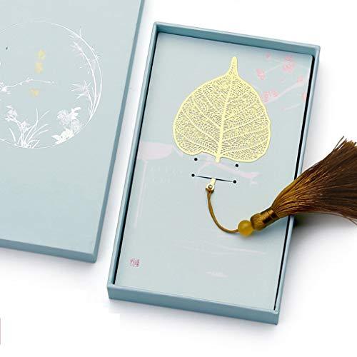 Marcapáginas Metal de Oro de época Hoja de Bodhi Marcar con Color Knotting Correa, de Regalo Ideal for Amigos y Familiares Regalos creativos Regalo Ideal