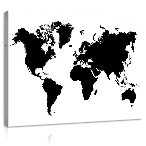 FORWALL Bilder Canvas Schwarz-Weiß Weltkarte O1 (100cm. x 75cm.) Leinwandbilder Wandbild AMFPP10252O1