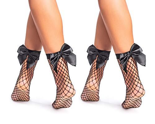 Sk by Looksy - Calze a rete da donna, con fiocchi o calze corte alla caviglia, taglia unica, colore: Nero, 03. Nero con fiocchi - 2 paia, Etichettalia unica