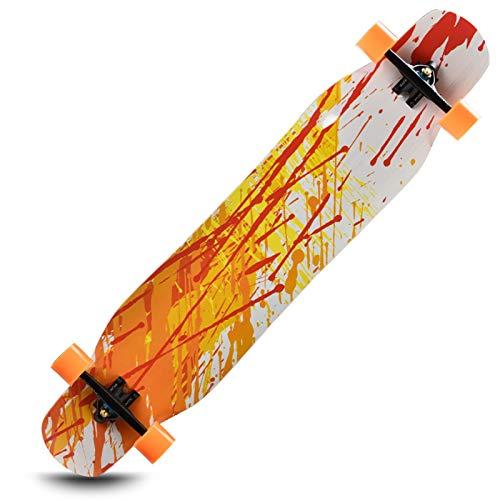 OFFA Longboards para Adultos Teens Deck Skateboards, 46 Pulgadas Longboard Skateboard Complete Cruiser, 8 Capas Maple Skateboard Cruiser para Crucero, Carving, Estilo Libre Y Descenso (Color : A)