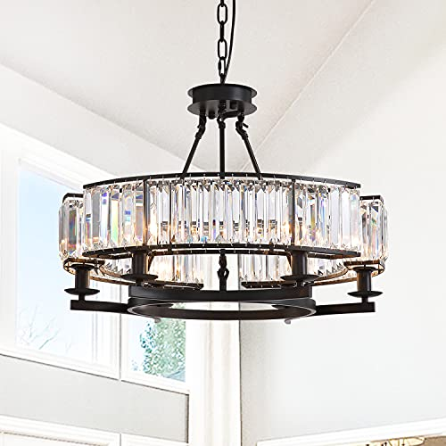 NOXARTE Round Crystal Chandelier Black Ceiling Pendant Lighting Fixture for Dining Room Farmhouse