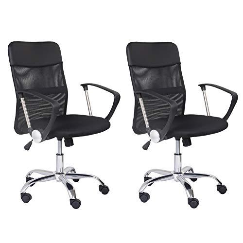 GOLDFAN 2er Set Bürostuhl Chefsessel Computerstuhl Schreibtischstuhl Drehstuhl Ergonomisch Stuhl Höhenverstellbar Sitzfläche Mesh Schwarz