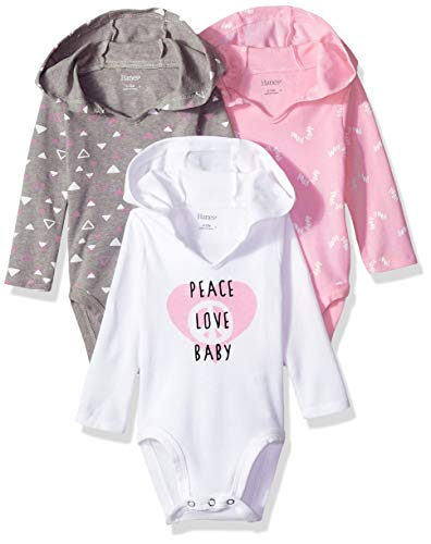 Hanes Ultimate Baby Flexy 3 Pack Hoodie Bodysuits, Pink/Grey Shades, 12-18 Months