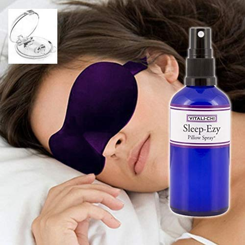 Vitali-Chi SLEEP-EZY - Made With Lavender and Chamomile Pure Essential Oils - ROOM, LINEN, PILLOW and SLEEPING SPRAY - With F-REE Anti Snoring Device AND F-REE Sleeping Mask - 100ml