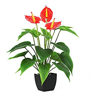 Bird Fiy Artificial Plants Flowers, Real Touch Fake Calla Lily Plant Greenery Shrubs Silk Flower for Wedding Bridle Bouquet Indoor Outdoor Home Kitchen Office Table Decor (Red, 1Pcs/Black Pot)