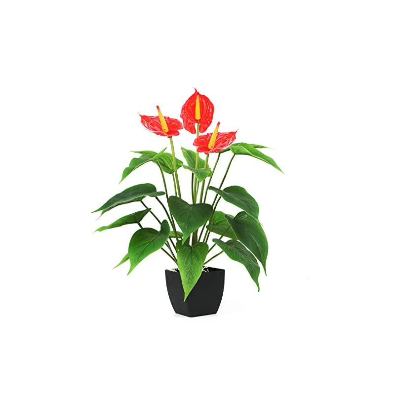 silk flower arrangements bird fiy artificial plants flowers, real touch fake calla lily plant greenery shrubs silk flower for wedding bridle bouquet indoor outdoor home kitchen office table decor (red, 1pcs/black pot)