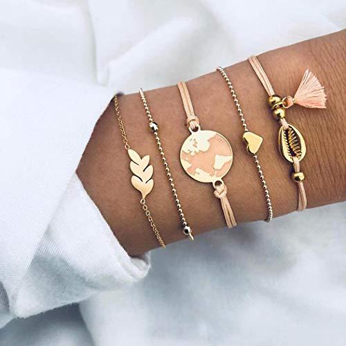 Edary Rosa karta armband set lager skal tofs pärlor armband hjärta personligt armband löv vävd handgjord hand kedja smycken för kvinnor och flickor (5 st)