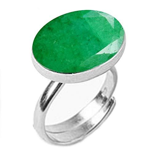 GemsOnClick plata de ley ovalada Green Natural-indio-esmeralda