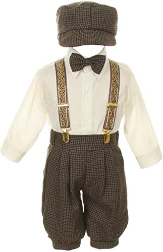 Vintage Dress Suit-Bowtie,Suspenders,Knickers Outfit Set for Boys-Toddler, Houndstooth-Beige/Ivory, 12 Months