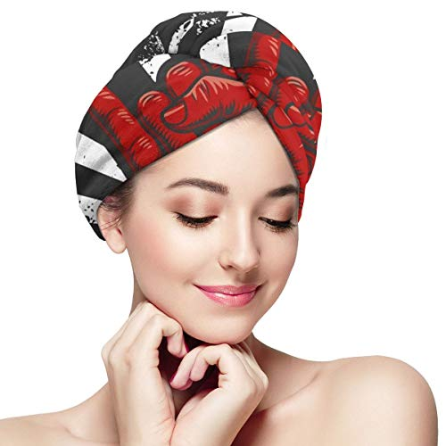 Rock Roll Hand Sign Icon Microfiber Hair Towel Wraps with Button for Women Quick Dry Anti-frizz Head Turban for Long Thick Curly Hair Super Absorbent Soft Bath Cap 11¡± X 28¡±