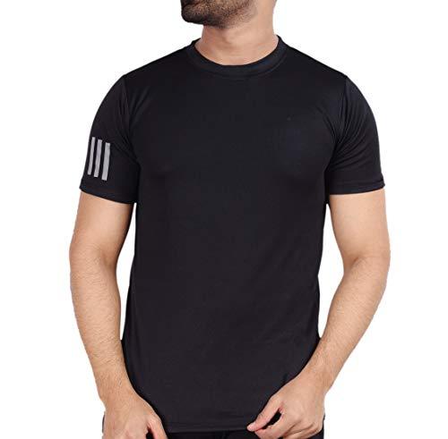 ADDIZ Men's Solid Regular Fit Quick Dry Gym T-Shirt || Dot Knit Plain Men's Sports Wear Black