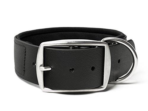 Mystique® Biothane Halsband Deluxe Neopren 38mm rostfrei schwarz 60-70cm