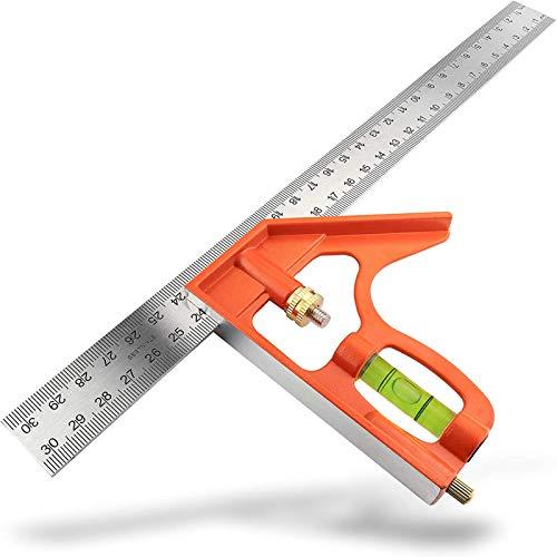 Cuadrado de Combinación, Combinación Escuadra 300mm, Herramienta de Medición de herramientas con la burbuja conjunto de niveles de piezas para Carpintería Herramient