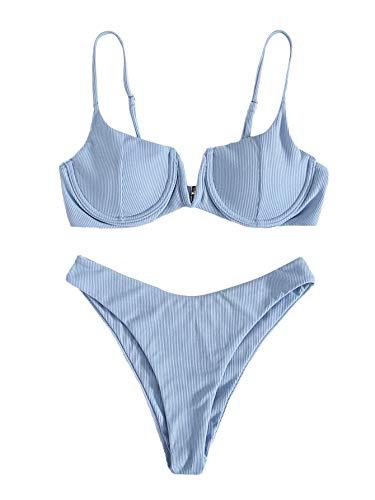 SOLY HUX Maillot De Bain 2 Pièces Femme Ensemble De Bikini Côtelé avec Armature Push Up Bikini De Plage Eté Bleu M