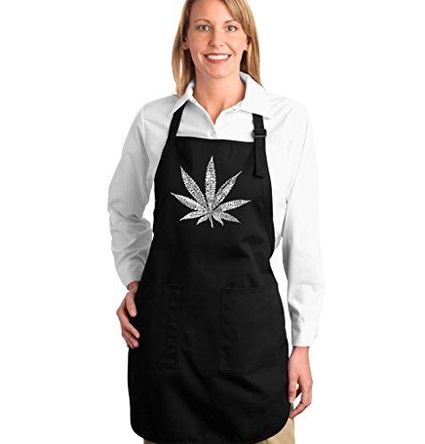 LA POP ART Word Art Apron - Marijuana Leaf - Street Terms - Word Art Black