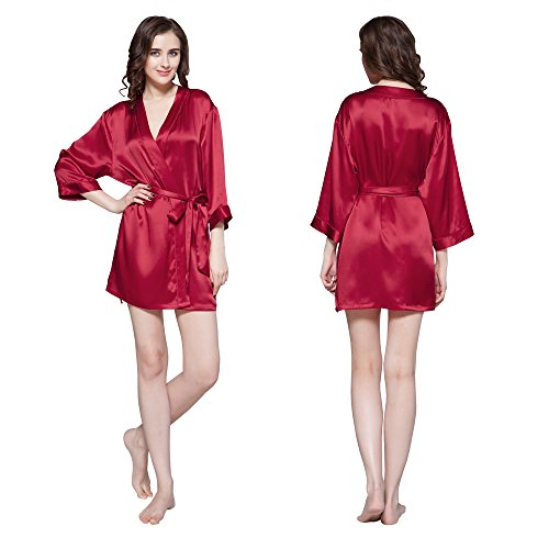 LilySilk Silk Robe for Women Short Sleeve Pure Natural Mulberry Charmeuse 22 Momme Soft Luxury Short Bathrobe Red Small