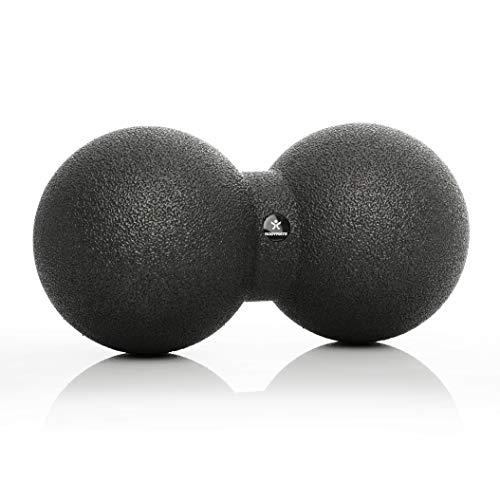 BODYMATE Großer Faszien-DUO-Ball Schwarz, Selbstmassage-Ball für Faszientraining, Durchmesser 12cm Länge 24cm