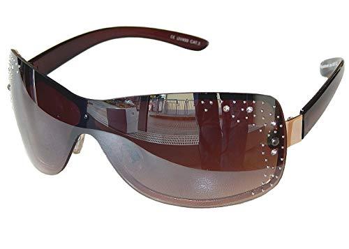 Sonnenbrille Damenbrille mit Strasssteinen Brille Monoglas Sportlicher Style Damen M 33 (Braun Gold.)
