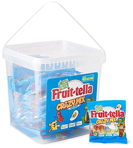 Fruittella Crazy Mix Jar Caramelle Gommose Gusti Assortiti con Succo di Frutta e Aromi Naturali, Colori Naturali, Senza Glutine, Secchiello da 45 Mini Bustine