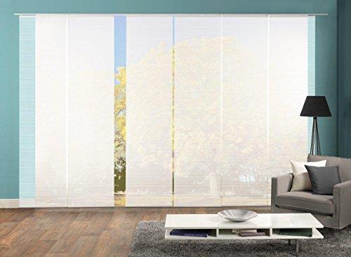 Vision S 96401 | 6er-Set Schiebegardine ROM | halb-transparenter Stoff in Bambus-Optik | 6X 260x60 cm | Farbe: (weiß)