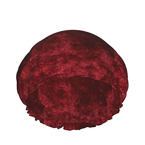 Gorro de ducha de baño de terciopelo rojo Sombreros de baño reutilizables elásticos para mujeres Impermeables y ajustables