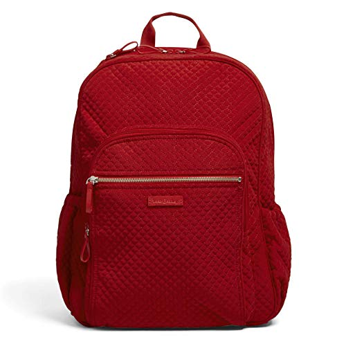 Vera Bradley Women's Microfiber Campus Backpack, Cardinal Red, One Size