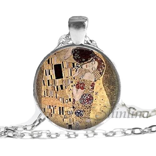 Neue Mode Glas Kuppel Halskette Gustav Klimt Halskette Klimts Mutter und Kind Anhänger Glas Kunst Bild Halskette