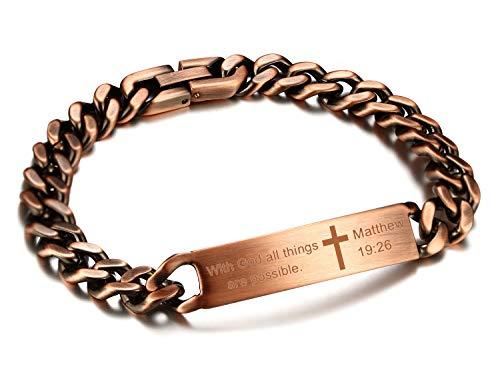 JF.JEWELRY Inspirational ID Wristband Cross Links Bracelets for Men Religious Quote Faith Christian Bible Verse Bracelets-Matthew 19:26