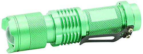 Pure² Mini Q5 Cree LED Taschenlampe (3 Modi: Flash, Hell und Dunkel, 300 Lumen, 7 Watt) mit einstellbarem Fokus Zoom grün