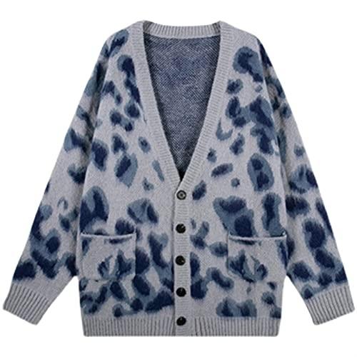 Aetygh Sujetadores Largos de Cardigan de Gran tamaño for Las Mujeres de Manga Larga de Manga Larga Frente Vintage Leopardo Leopardo de Punto suéter cárdigan Suelto Estilo Universitario Abrigo Outwear