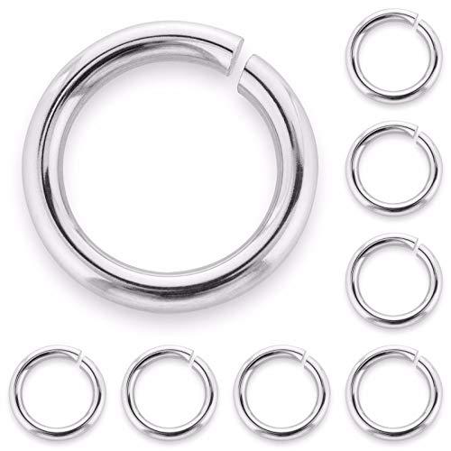 20 anillas de plata de ley maciza abiertas, 4 mm, alta calidad, muy resistentes