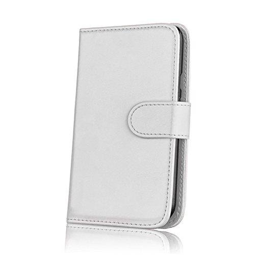 32nd® Funda Flip Carcasa de Piel Tipo Billetera para Motorola Moto G 3 (3. Generacion, 2015) con Tapa y Cierre Magnético y Tarjetero - Blanco