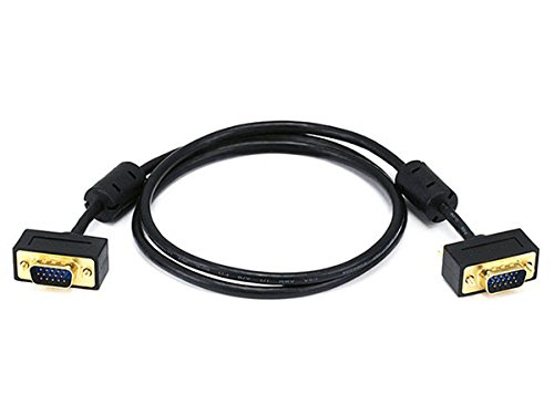 Monoprice 3ft Ultra Slim SVGA Super VGA 30/32AWG M/M Monitor Cable w/ ferrites (Gold Plated Connector)