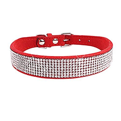 Bonito Collar de Perro con pedrería Bling Bling (Rojo S) - Adecuado para Perros pequeños y medianos