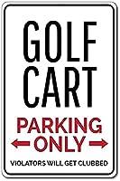 2個 ゴルフカート駐車場ブリキの看板金属板装飾看板家の装飾プラーク看板地下鉄金属板8x12インチ メタルプレートブリキ 看板 2枚セットアンティークレトロ