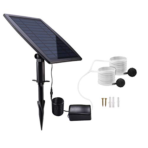Lewisia Solar Air Pump Kit Battery Backup with Air Hoses and Bubble Stones 3 Working Modes Pond Aerator Bubble Oxygenator Hydroponics Aquaponics Fish Tank Koi Pond Aquarium Pool Aeration Fishing