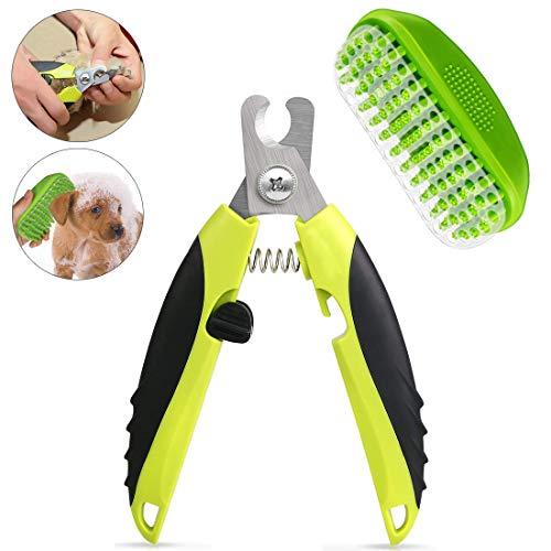 Aenamer® Krallenschere Nagelschere für Hunde Katze + Haustier Badebürste, Scharf Edelstahl Hund Nagelknipser mit Sicherheitsschutz und Weiche Massage Bürste