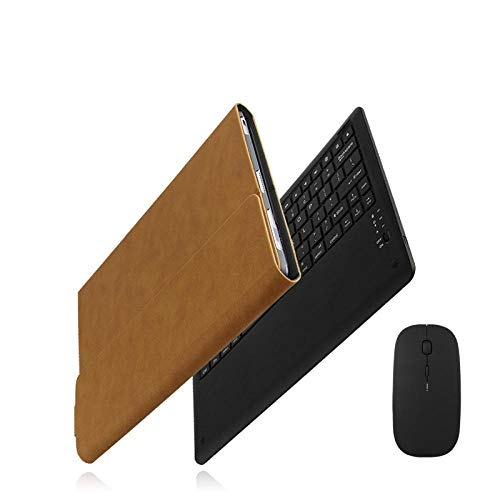 Daluo Cover with keyboard Case For Hw Matebook E 2019 Protective Cover Bluetooth Keyboard Protector Pu Pak (Color : Brown mouse)