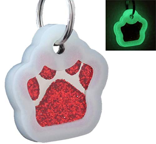 io tags Pet ID Tags, Personalized Dog Tags and Cat Tags, Custom Engraved, Easy to Read, Cute Glitter Paw Pet Tag (Red + Silencer)
