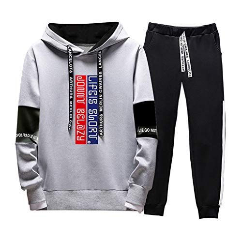 WBLKD Hombres Completos Trajes De Jogging Bottings Gym Sweat Suits con Capucha Chaqueta Deportiva Pantalones Grey-XXXL