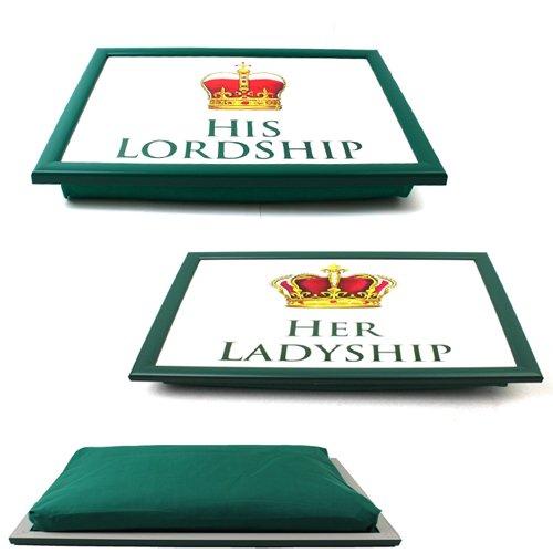 HIS HER Lordship Ladyship LAPTRAY Cushion Breakfast Serving Food Dinner Lap Tray (Ladyship)