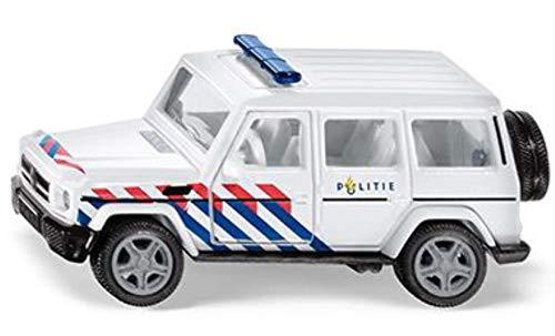 siku 230800302, Mercedes-AMG G65 Polizeiauto Niederlande, Mit Anhängerkupplung, 1:50, Metall/Kunststoff, Blau/Weiß, Auswechselbare Reifen