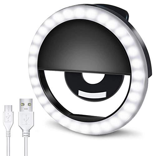 AUTOPkio Anillo de luz Selfie, 36 LED Light Ring USB Recargable Ajustable 3 Modos de Luz para Youtube, Tiktok, Teléfonos, Vlog, Maquillaje (Negro)