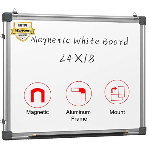 Magnetic White Board 24 x 18 Dry Erase Board Wall Hanging Whiteboard with 3 Dry Erase Pens, 1 Dry Eraser