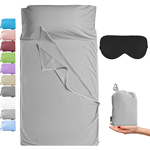 Cozysilk Sleeping Bag Liner - 100% Cotton Sleep Sacks Adults - Camping Sheets Hotel Travel Sheets with Full Length Tearaway Zipper (Light Grey, Single Luxury - 41 x 87 inch)