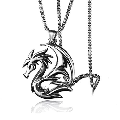 Collar con colgante de dragón volador de llama dominante para hombre de aleación de acero de titanio estilo retro del zodiaco