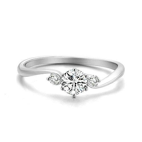Anyeda Freundschaftsring Damen 18K Gold Kreisverkehr Diamant Silber Ringe mit Namensgravur Größe 53 (16.9)