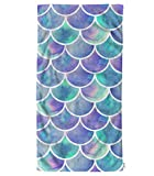 oFloral Watercolor Scale Hand Towels Cotton Washcloths,Beautiful Fish Scale Colorful Comfortable Super-Absorbent Soft Towels for Bathroom Beach Kitchen Spa Gym Yoga Face Towel 15X30 Inch